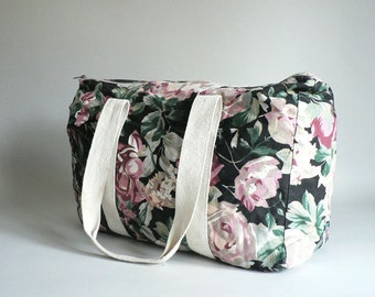 Womens Vintage Black Floral Tote Carry-All Bag