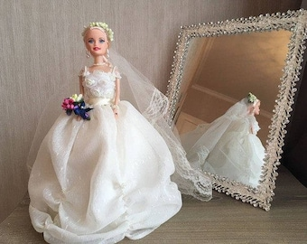 10inc wedding doll,  barbie wedding,  hand made doll,doll with case, jewelry case doll, original gift,doll with surprize,gift for woman,