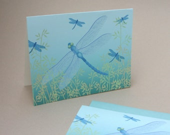 Dragonfly Note Cards, Blue Teal Mothers Day Nature Woodland Illustration Stationery Set Stationary Set Bug Insect