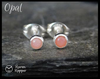 October birthstone earrings - Natural pink opal gemstone earrings, 3 mm, in a sterling silver bezel setting. Sleepers, stud earrings. 107