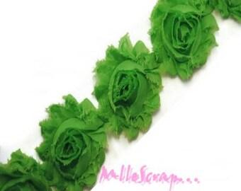The 3 flowers scrapbooking embellishment green organza Ribbon *.