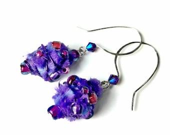 Colorful Earrings,  Purple Drop Earrings, Purple Dangle Earrings,  Beaded Earrings, Artsy Jewelry, Artsy Gifts