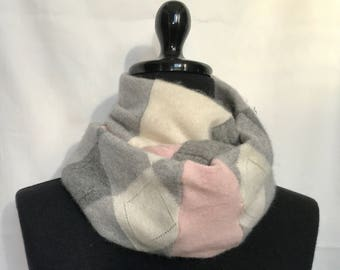 Pink Gray and Cream Argyle Infinity Cashmere Scarf made from an Upcycled Sweater