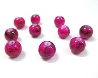 10 beads black, fuchsia glass 8mm (N-28)