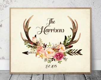 Floral Antlers Print
