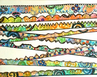 Art Journal Cardstock Borders, Colorful, OOAK, Fun