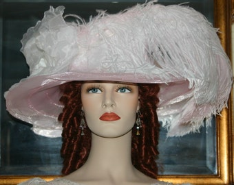 Kentucky Derby Hat Ascot Edwardian Tea Party Hat Somewhere in Time Hat Women's Pink & White Hat Wide Brim Hat -  Lady Helene -