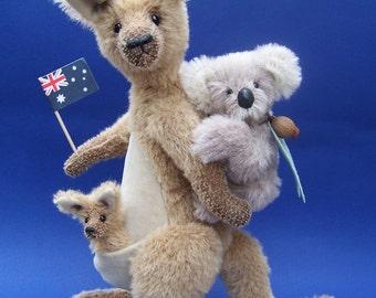 Teddy bear pattern Soft plush Australian Kangaroo, joey and koala trio. Matilda, Gum-nut and book mark Joey