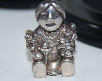 Vintage Carol Felley Sterling Silver Storyteller Brooch Pendant for Necklace 1989