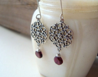 Garnet Filigree Earrings Sterling Silver Art Nouveau January Birthstone Holiday Jewelry Gifts Under 40 Winter Weddings Bridesmaids