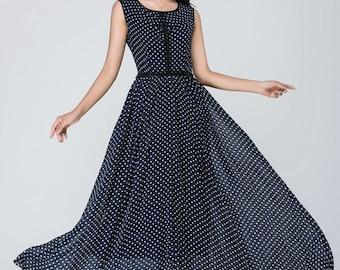 blue and white polka dot dress, chiffon dress, womens dresses, maxi dress, sleeveless dress, round neck dress, summer dress 1558
