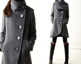 SALE Missing you - warm quilted cashmere coat crystal buttoned / lined woolen jacket / gray woolen jacket / gray cashmere jacket(Y1225)