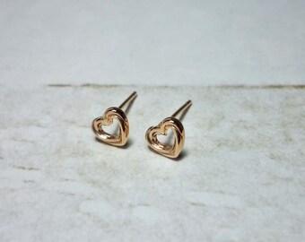 Open Heart Stud Earrings, Dainty Earrings