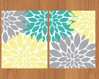 Floral Flower Burst Gray Yellow Teal Wall Art Nursery Bedroom Bathroom Living Room Kitchen Decor 8X10 Set of 2 Matte Finish Prints (134sc)