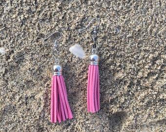 Millenial pink tassel earrings