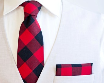 """Necktie, Neckties, Mens Necktie, Neck Tie, Mens Necktie, Groomsmen Necktie, Ties, Wedding Neckties - Black And Red 1"""" Gingham Check"""