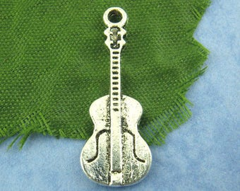 set of 5 Silver guitar charm