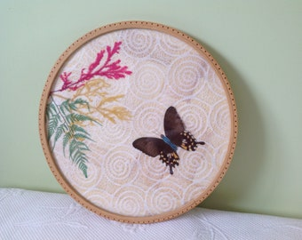 Tray butterfly and lace - real butterfly and lace - dried plants - serving snacks and drink - summer / / made in Taiwan