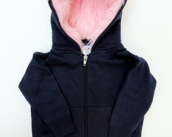 Youth Monster Hoodie - Size Small (6-8) - Navy blue with pink - horned sweatshirt, custom jacket