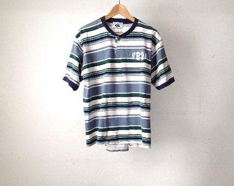 vintage 90s grunge blue & green striped vintage t-shirt