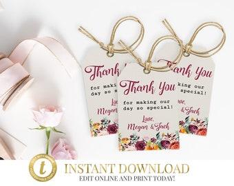 Marsala Favor Tags, Thank You Tags,Wedding Favor Tags, Wedding Favors, Marsala Wedding, Gift Tags, Printable Favor Tags, Wedding Gift Tags