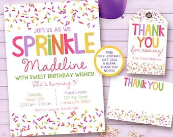 Sprinkle birthday invitation / sprinkle printable invitation