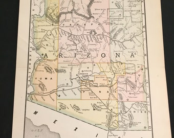 1890 Map of Arizona, Original Antique Color Map by Rand McNally