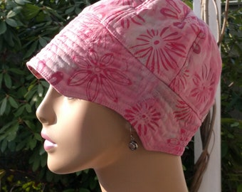 Chemo Hat  Handmade in USA Cancer Hat Alopecia Hat for Hair Loss Pink Batik LARGE