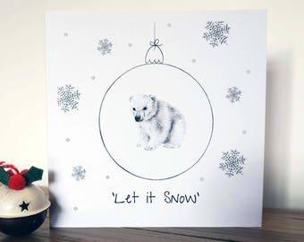 Polar Bear Glitter Christmas Card
