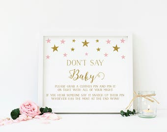 Twinkle Twinkle Little Star, Don't Say Baby Game, Dont Say Baby, Clothespin Game, Pink and Gold Baby Shower Game, Printable - SG2
