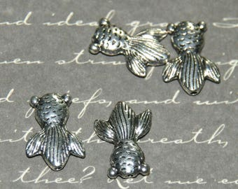 4 beads Japanese fish silver-plated 15x10mm