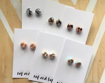 Polymer clay round stud earring. Surgical steel posts. Assorted colours