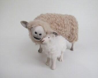 Leicester Longwool Ewe Snuggling Lamb