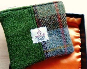 Harris Tweed Coin Purse in Presentation Box, Green Barley Corn and McCloud Check