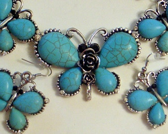 Turquoise Butterfly Necklace And Earrings - Big Statement Butterflies - Silver Plated