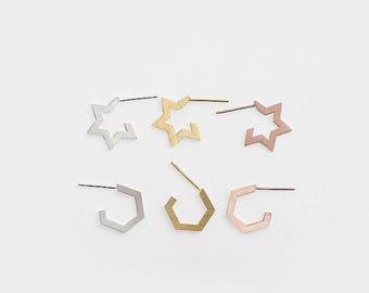 925 Sterling Silver Structural Star Stud Earrings, Geometric Hexagon Stud Earrings