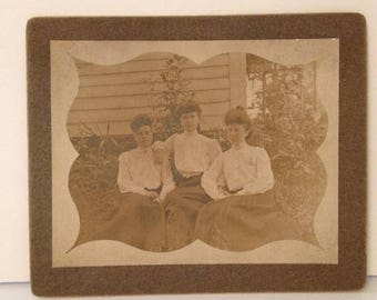 ON SALE Gibson Girls Antique Photograph Early 1900's Three Pretty Young Women Sisters Old Vintage