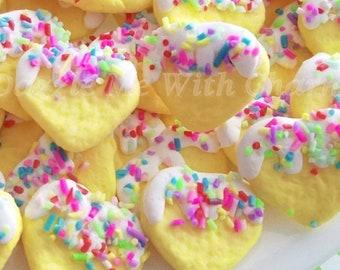 Fake heart cookie sprinkles frosting cabochons colorful polymer clay yellow flatback supply accessories decoden phone case jewelry *4pcs*