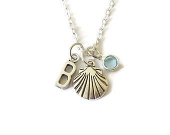 Sea Shell Necklace, Beach Jewellery, Personalised Sea Shell Necklace, Initial Birthstone Necklace, Gift Beach Lover, Beach Girl