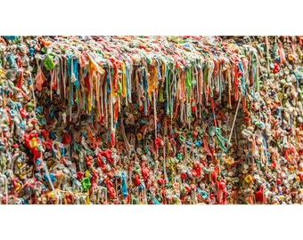 Pike Place Market Gum Wall, Seattle WA, Washington, Colorful Art Photography, Wall Decor, Vibrant Colors, Unique Texture, Photo Print
