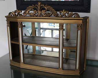 Vintage Gold Shadow Box, Hollywood Regency Shadow Box, Syroco Shadow Box, Mirrored Hanging Cabinet, Syroco Wall Shelf with Mirror, Curio