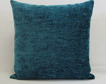 Teal Pillow Cover Decorative Throw Accent Toss Couch Plush Chenille Lumbar Zipper
