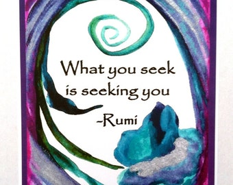 What You Seek RUMI Inspirational Poster Yoga Meditation Friends College Spiritual Gift Motivational Print Heartful Art by Raphaella Vaisseau