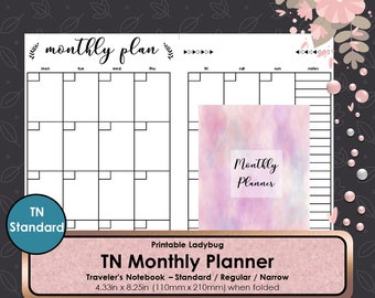 Standard Monthly Inserts,Standard TN,Monthly Travelers Notebook,Monthly Inserts,Monthly Planner,Journal,Bullet Journal,Travelers Inserts,TN