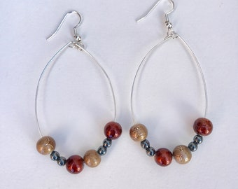 Bronze Red Hoop Earrings