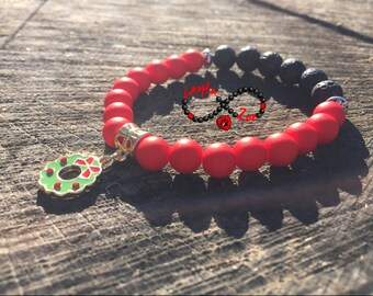 Red and Black. Handmade bracelet made with lava stones, Christmas edition.