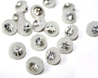 20 PCS Rhinestone Crystal Look Sewing Buttons for bridal and fashion.