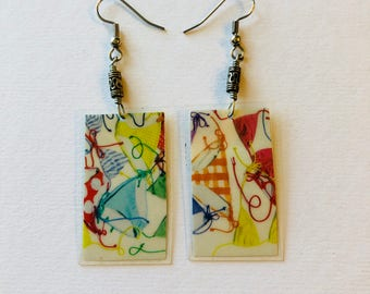 Unique Print Recycled Magazine Earrings