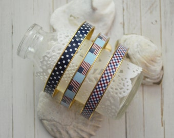 Women's Preppy Bangle Bracelet - Navy Polka Dot, American Flag & Checkered