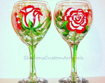 Fire and Ice Roses and Babies Breath Hand Painted Wine Glasses Set of 2-  20 oz. Red Wedding Anniversary Mother of the Bride  Mothers Day